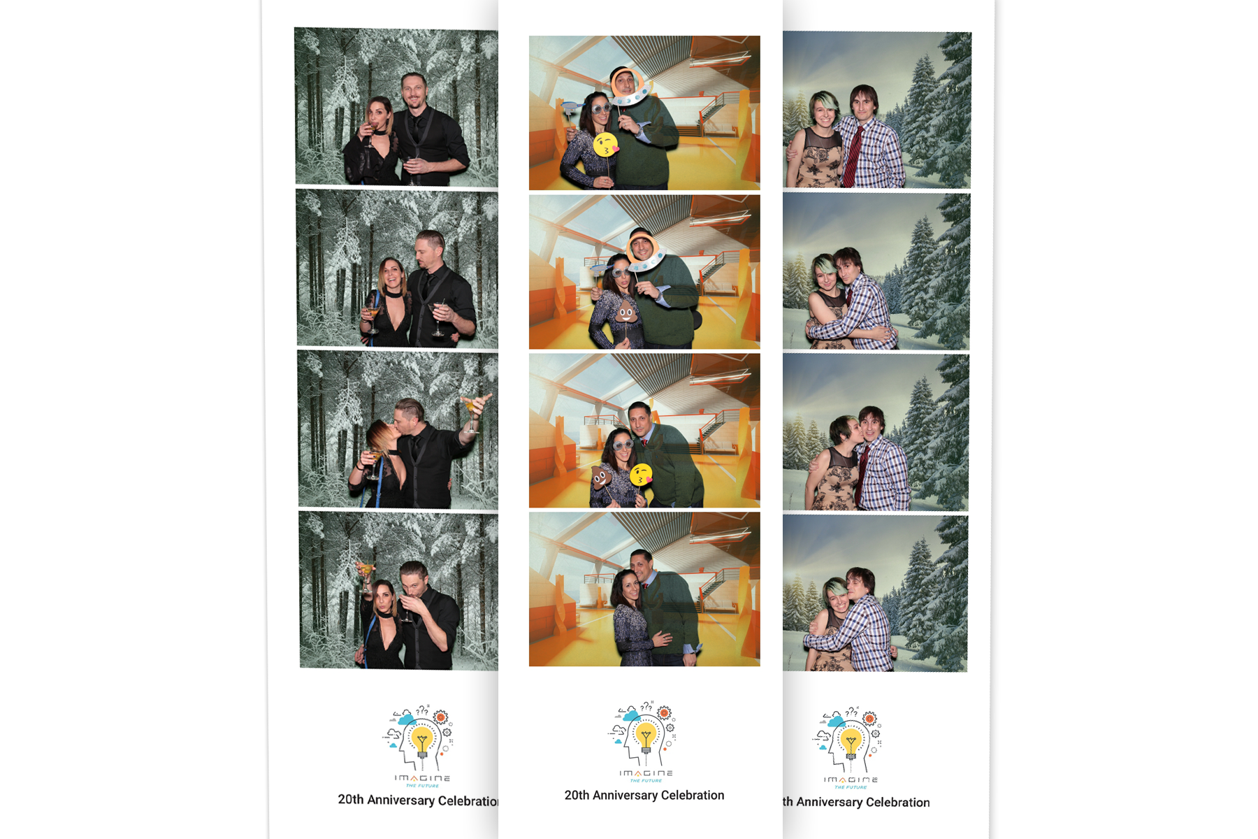 Film strip print layouts taken in a green screen photo booth at the 2016 realtor.com and move.com Holiday party in Westlake Village, Los Angeles, CA