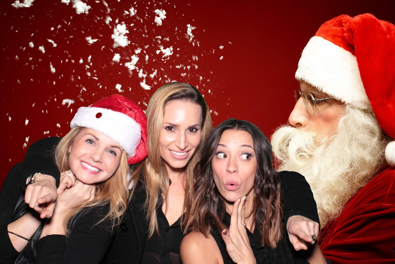 holiday photo booth rental with santa on a green screen