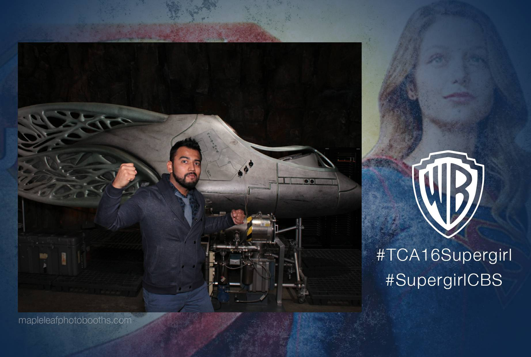 a photo booth photo from the Warner Brothers Super Girl press event in Burbank
