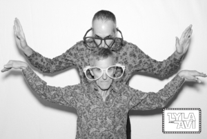 A creative photo booth photo with goofy glasses props at a bar mitzvah in Beverly Hills