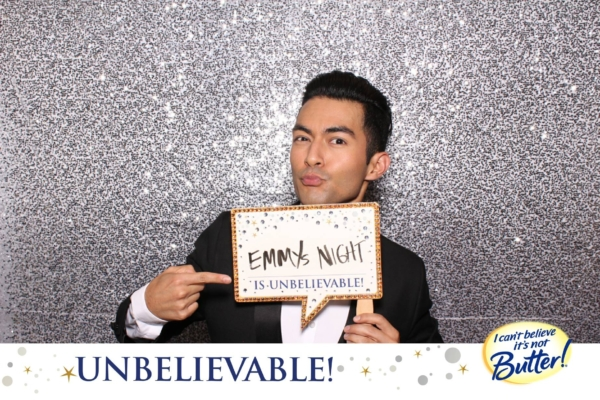 a photo booth photo of an Emmys 2016 guest at the I Can't Believe It's Not Butter backstage gifting suite at The Microsoft Theater in Los Angeles