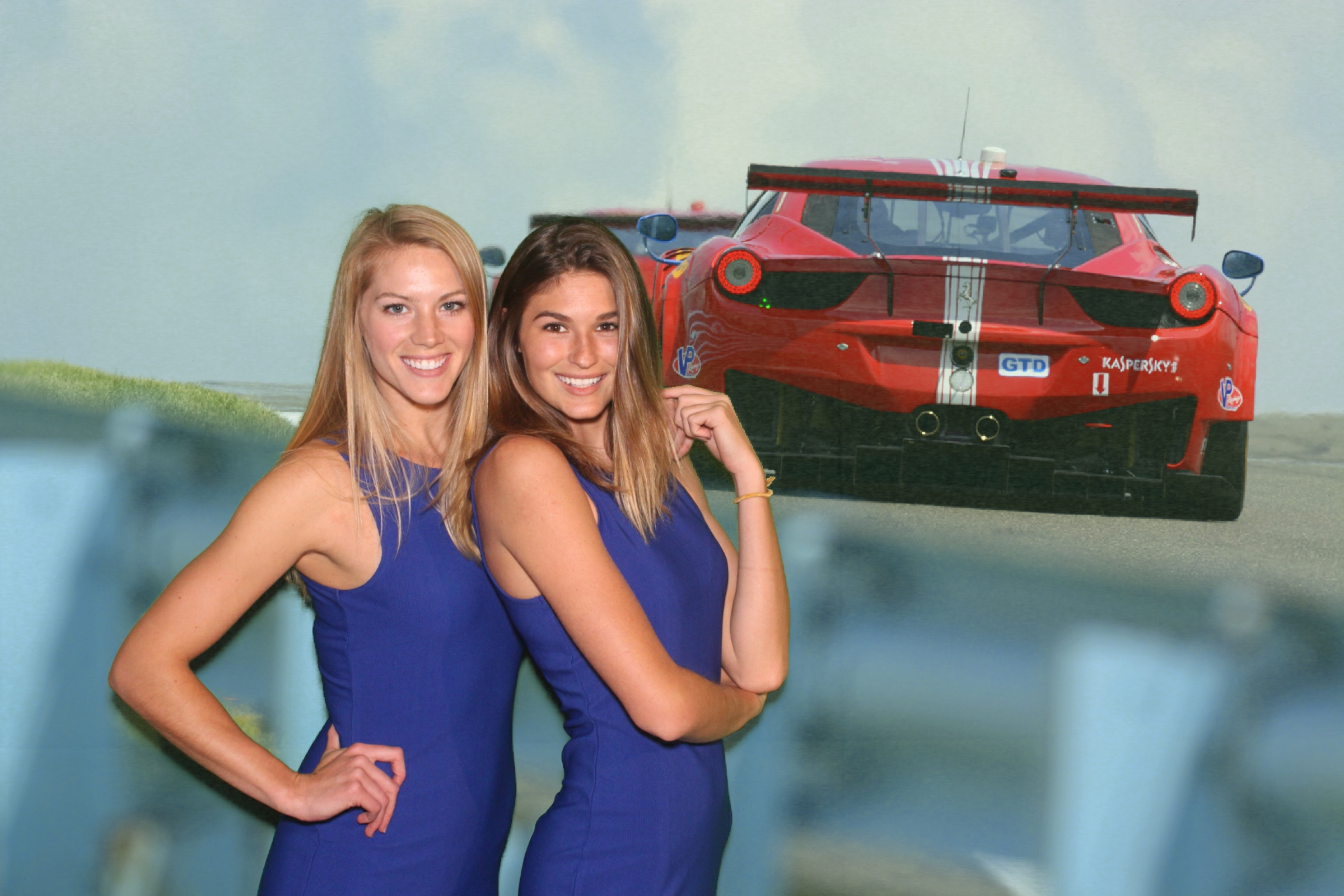 A green screen photo booth photo of Runway Waiters model staff at Ferrari of Beverly Hills