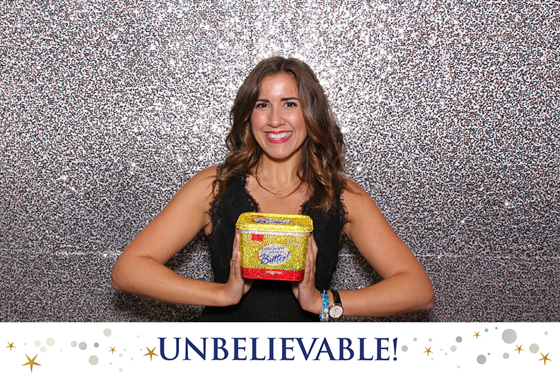 a photo of a lady holding a bedazzled photo booth prop at the Emmys. Photo taken by Maple Leaf Photo Booth rentals in San Francisco