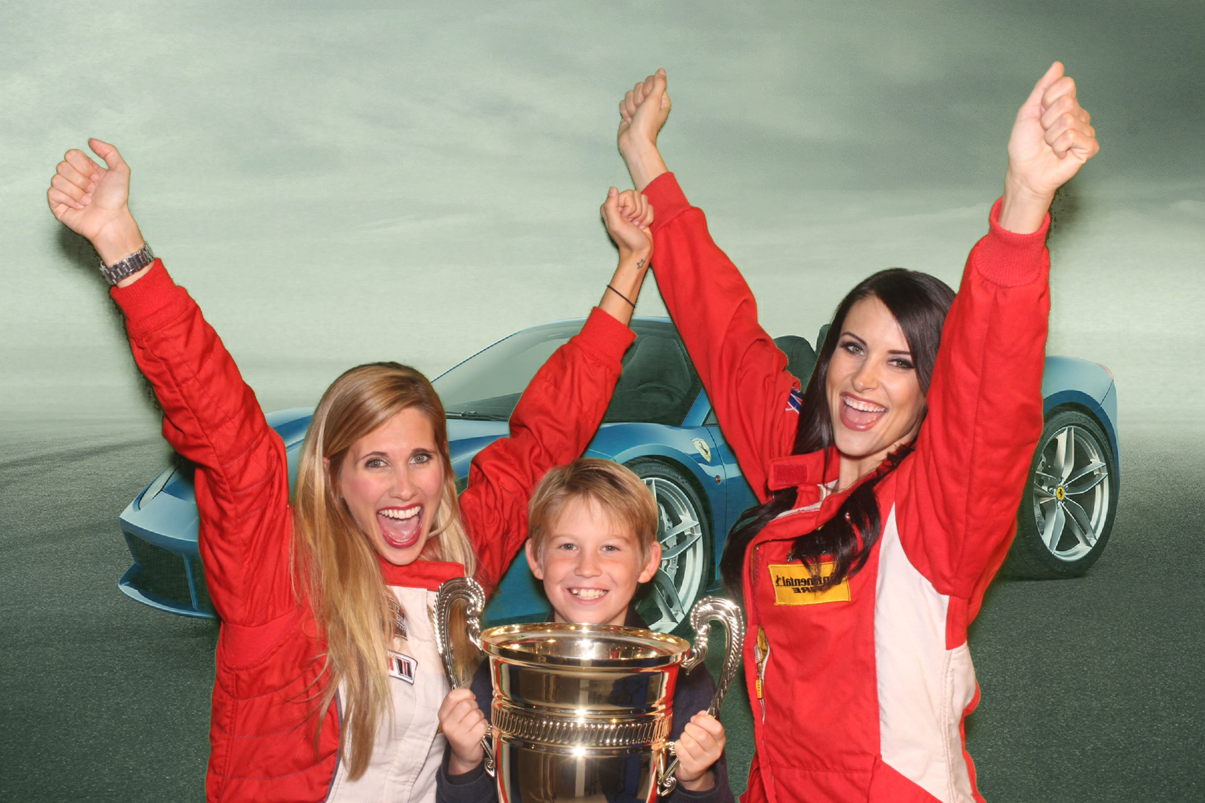 A green screen photo booth photo of models and a party guest at Ferrari's 488 Spyder unveiling event in Beverly Hills