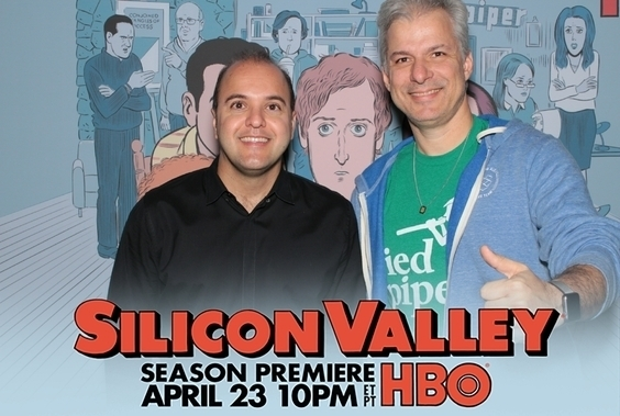 2 guests attending HBO Silicon Valley premiere by Maple Leaf Photo Booth rentals in New York City