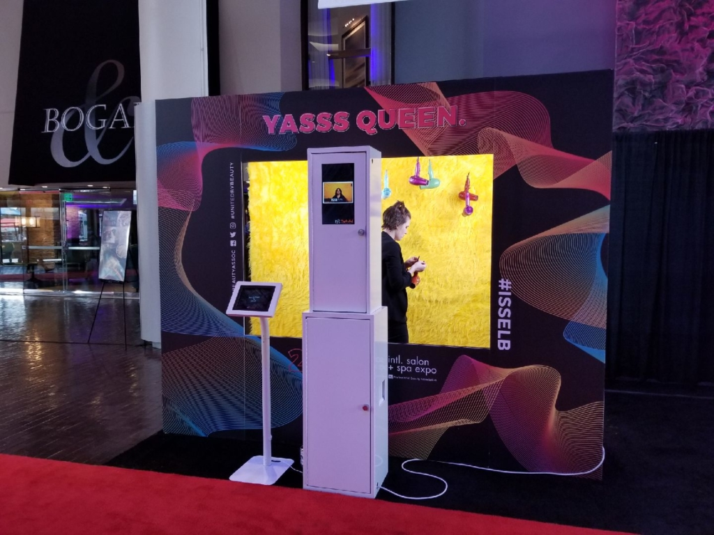 a sleek, white, modern Maple Leaf Photo Booth at the Long Beach Convention Center at the International Salon and Spa Expo 2019